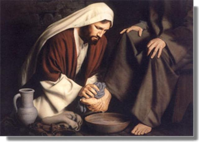 jesus lavando